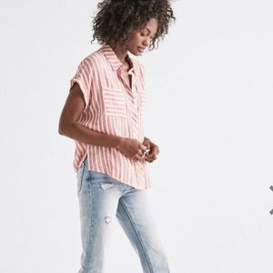 NWT Sm Lucky Brand Tie Back Stripe Shirt